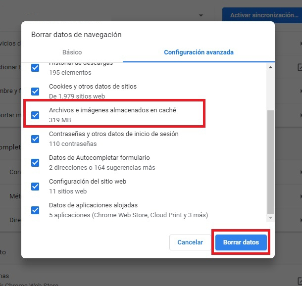 Borrar Memoria Cache Chrome