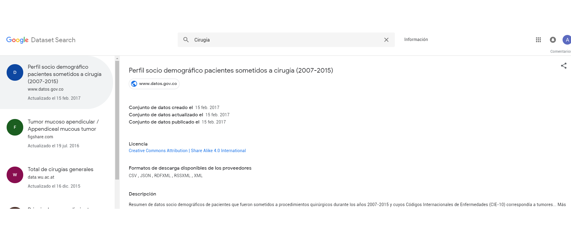 Dataset Search Uso de Metadatos