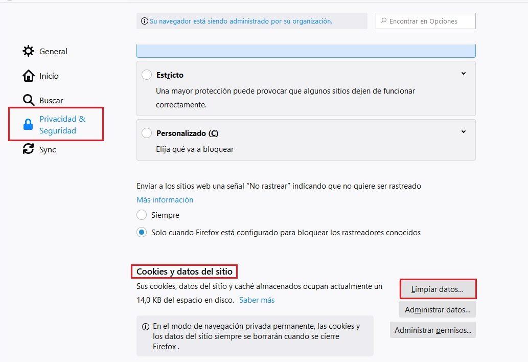 Eliminar Cache Firefox