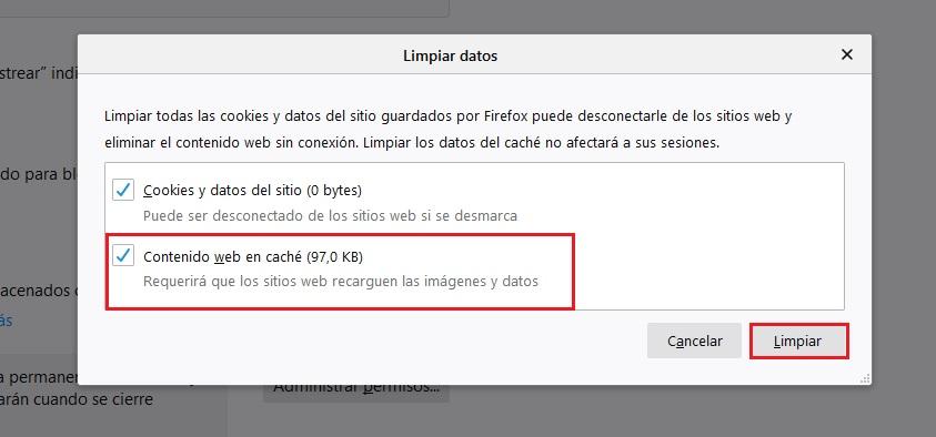Eliminar Memoria Cache Firefox