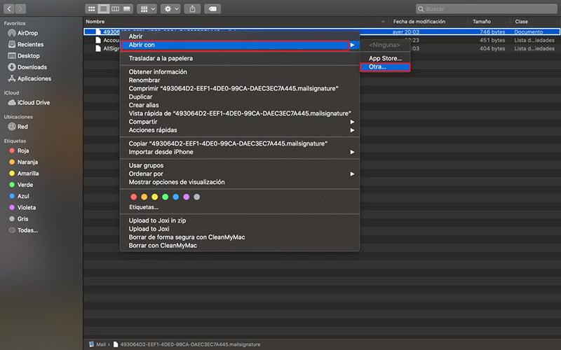 Abrir Firma HTML Mail Apple iCloud Catalina
